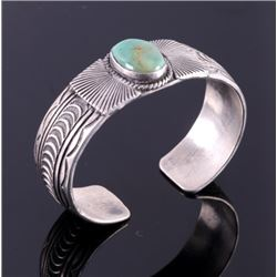 Navajo Signed Sterling Silver Turquoise Cuff