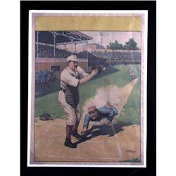 1897 Baseball Lithograph Home Plate Slide