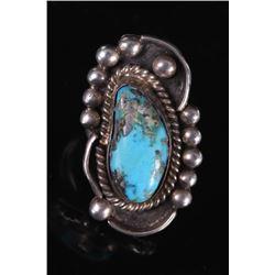 Navajo Morenci Turquoise Silver Ring