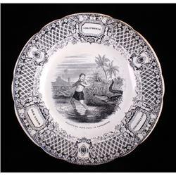 Gold Rush LeBeuf & Milliet Transferware Plate 1850