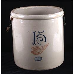 Antique 15 Gallon Red Wing Salt Glazed Crock