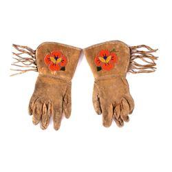 Montana Crow Floral Beaded Gauntlet Gloves c. 1930