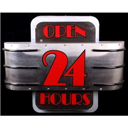 Art Deco Style Open 24 Hours Sign 3D