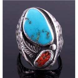Navajo Sterling Silver Turquoise Coral Ring