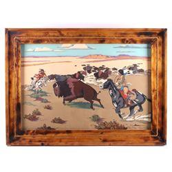 Rustic Framed Original Buffalo Hunt Painting