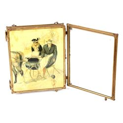 Early Bakelite Triptych Travel Mirror circa 1903