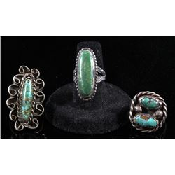 Set of 3 Navajo Turquoise & Silver Old Pawn Rings