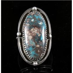 Navajo Silver & Turquoise Signed Old Pawn Ring
