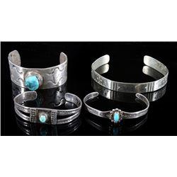 Navajo Sterling Silver & Turquoise Bracelets (4)