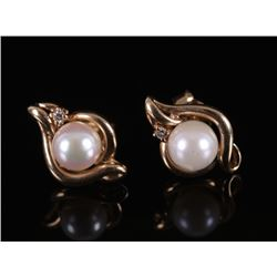 14k Gold, Pearl, and Diamond Earrings