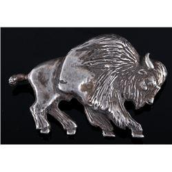 Navajo Sterling Silver Carved Buffalo Brooch