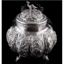 Bohemian Ornate Silver Camel Jar with Lid