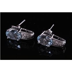 10k White Gold & Aquamarine Earrings