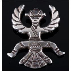 Navajo Sterling Silver Birdman Effigy Brooch