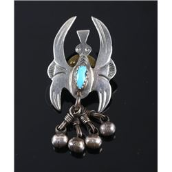 Navajo Sterling Silver & Turquoise Water Bird Pin