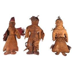 Three Native American Handmade Leather Dolls