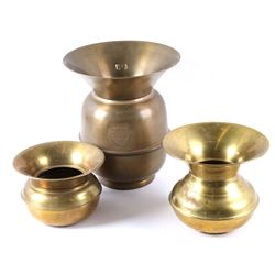 Collection of Three Brass Spittoons