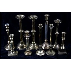 Collection Of Assorted Brass Candlestick Holders