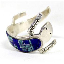 Navajo Sterling Turquoise Inlay Lizard Bracelet