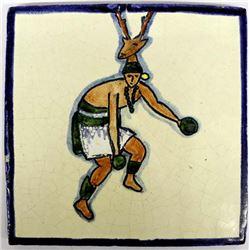 Vintage Mexican Clay ''Deer Dance'' Tile