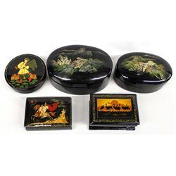 5 Vintage Ethnic Lacquerware Trinket Boxes