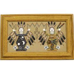 Framed Navajo Sand Painting by Herman Tom