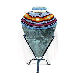 Hand Beaded Pottery Vase on Stand, Kills Thunder