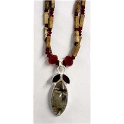 Jasper Bead and Sterling Pendant Necklace