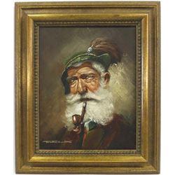 Framed Original Tyrolean Portrait by Felix