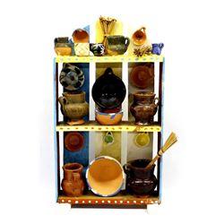 Mexican Folk Art Wood Shelf with Pottery