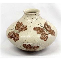 Mata Ortiz Butterfly Pottery Jar by Carlos Mora