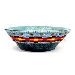 Large Hand Beaded Wood Bowl by Kathy Kills Thunder