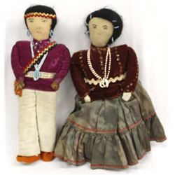 Pair of Vintage Native American Navajo Dolls