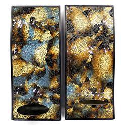 Pair of Art Deco Glass & Metal Wall Garnitures