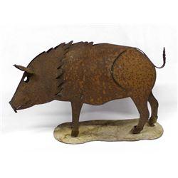 Rustic Metal Yard Art Pig