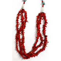 Turquoise and Coral Bead Necklace by Kills Thunder