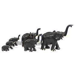 Herd of Carved Ebony Wood Elephants