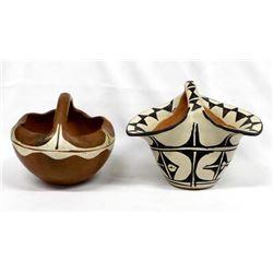 2 Vintage Native American Pottery Baskets
