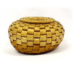 Native American Penobscot Lidded Basket