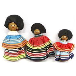 3 Vintage Native American Seminole Dolls