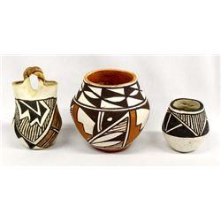 3 Small Native American Acoma Pottery Jars