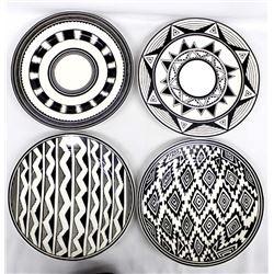 4 Anasazi Traders Mimbres Designed Plates
