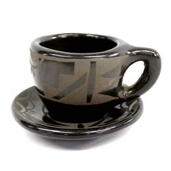 Native American Santa Clara Pottery Cup & Saucer
