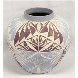 Native American Acoma Carved Ceramic Jar