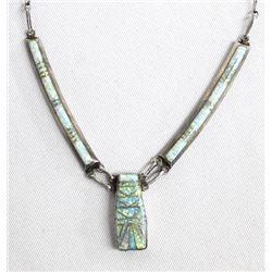 Native American Zuni Silver & Opal Necklace, Lucio