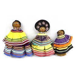 3 Native American Seminole Dolls