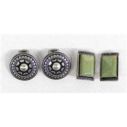 2 Pairs of Sterling Silver Clip-On Earrings