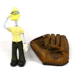 Vintage Baseball Glove and Novelty Bobblehead