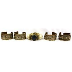 5 Asian Brass and Bone Bracelets