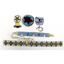 5 Pieces of Native American Plains Indian Beadwork
